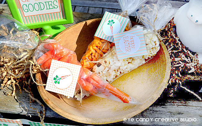 candy-free easter snack ideas, carrots, Goldfish crackers, popcorn