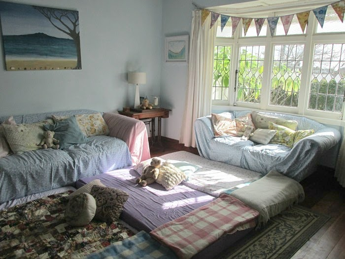 After I Made A Giant Cosy Bed On The Floor With Dragged In Mattresses Couches Were Swathed Sheets Vintage Sheet Bunting By Lovely