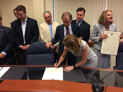 Lt. Governor Polito signing Compact with Town Administrator Jeff Nutting