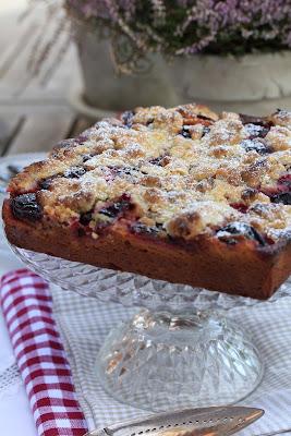 gâteau aux prunes , crumble cake , moelleux , facile