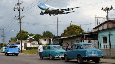 Air Force One arrives in the Cuban capital Havana [Reuters]