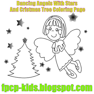 Angels Dancing With Stars And Cristmas Tree Coloring Page