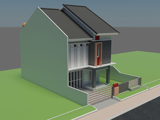 Rumah dan kos kosan modern minimalis ukuran 10x16 m 10 kamar tidur 2 lantai