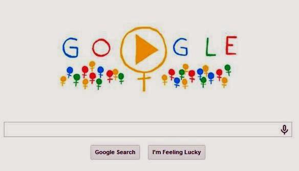 Screenshot of Google Doodle on International  Women's Day 2014