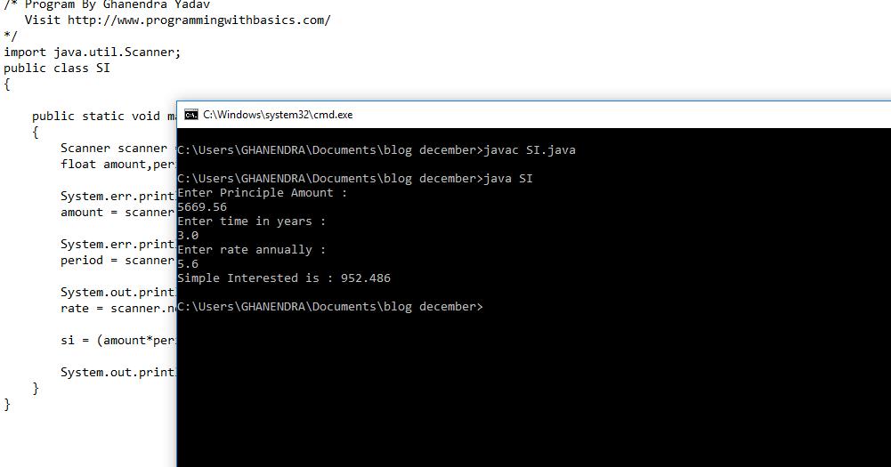 java program for calculate simple interest
