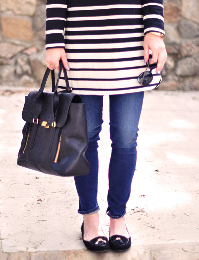 striped shift dress with skinny jeans and loafers