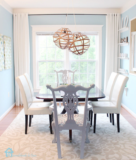 white and blue dining room makeover