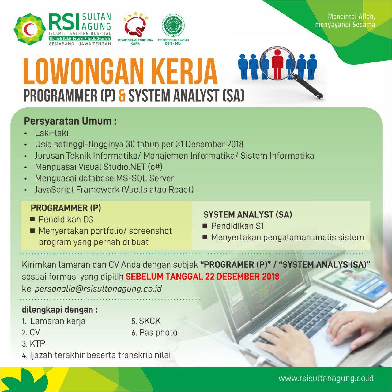 Lowongan Kerja Rsi Sultan Agung Deadline 22 Desember 2018 Rekrutmen Dan Lowongan Kerja Bulan Februari 2021