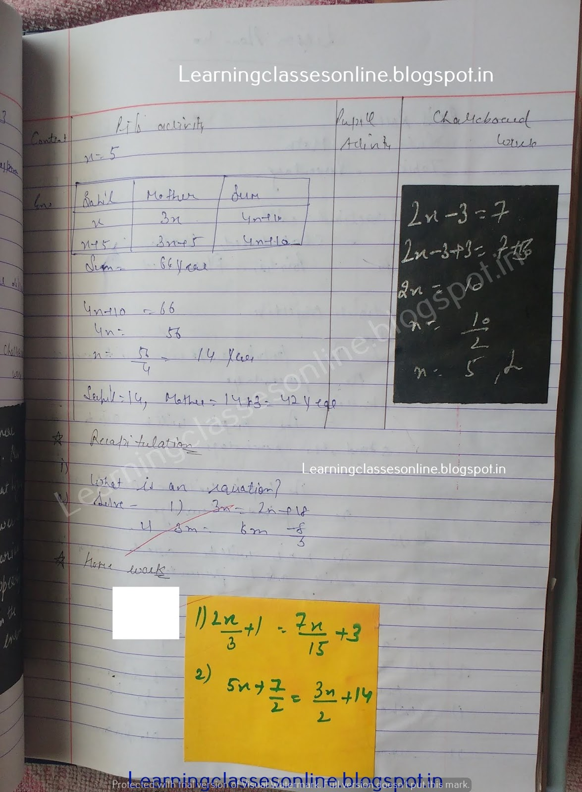 Lesson Plan For Maths Class 5