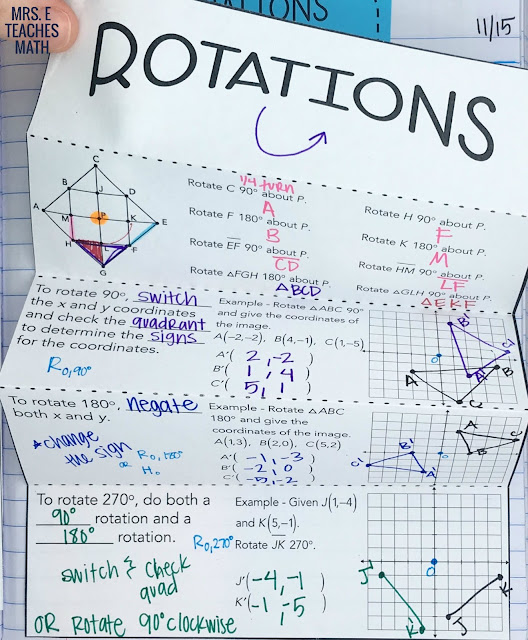 rotations foldable for interactive notebooks in high school geometry