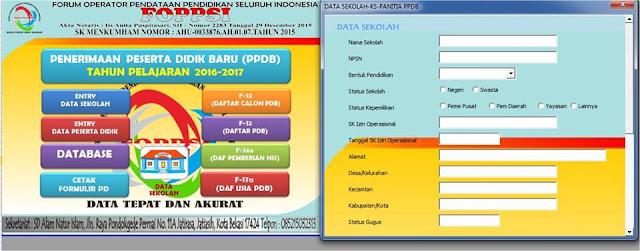 Kolom Entry Data Sekolah Aplikasi PPDB Format Excel FOPPSI Kabupaten Garut