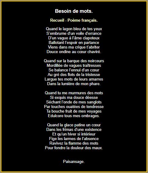 Poème français : Besoin de mots