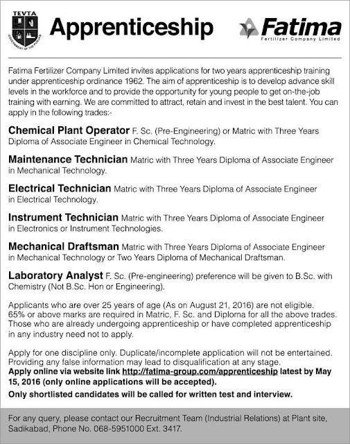 Apprenticeship opportunity in Fatima Fertilizer Company Jobs 2016