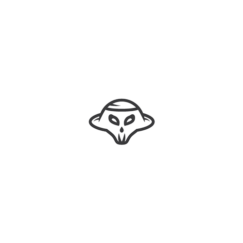 Skull Alien Ufo Logo for Sale