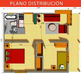 casa prefabricada azocar plano 39,69 mts cuadrados