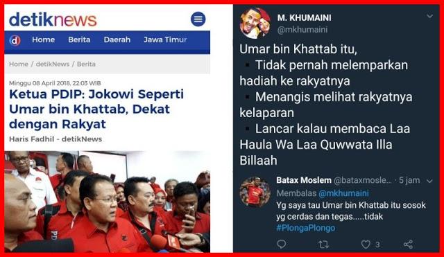 Ketua PDIP: Jokowi Seperti Umar bin Khattab, Warganet: Umar tidak Plonga Plongo