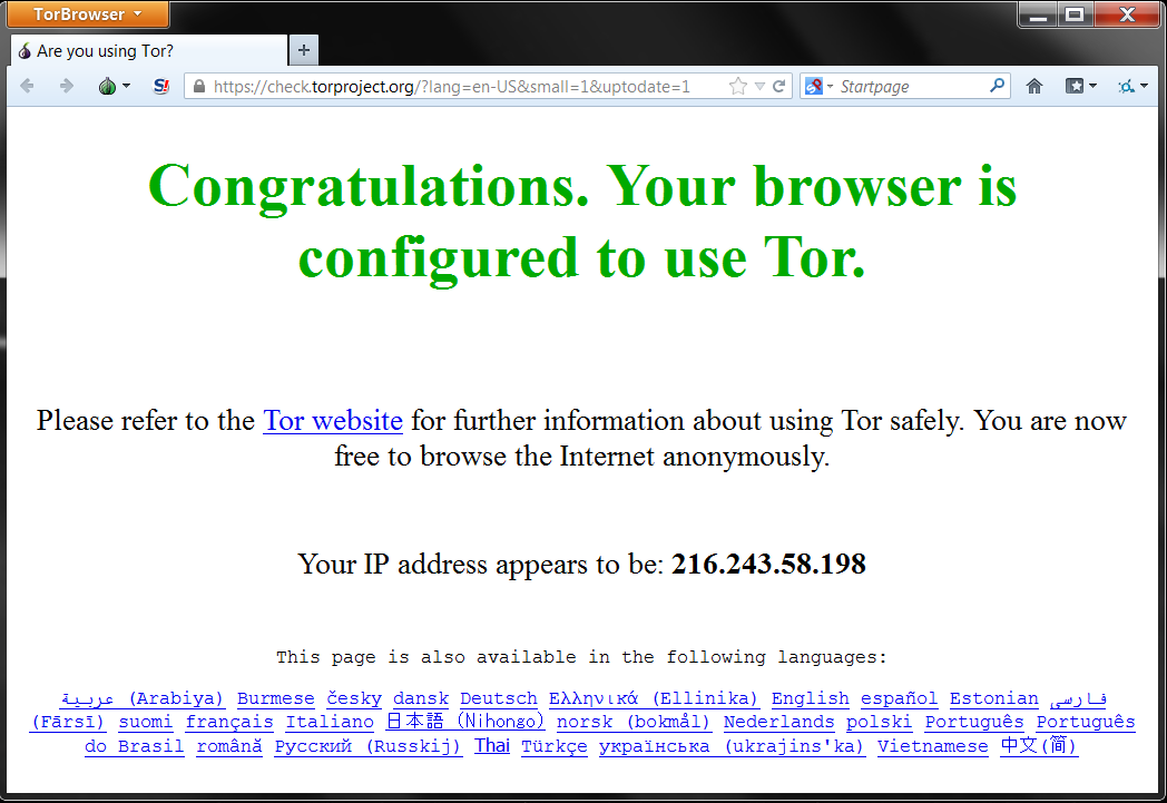 tor browser started