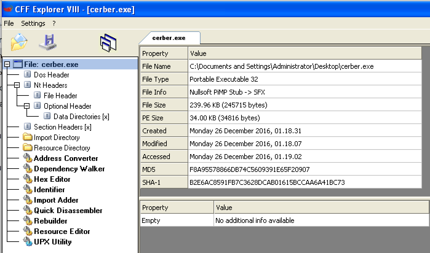 Cerber Ransomware: Unpacking Malware from Memory and Extracting Its