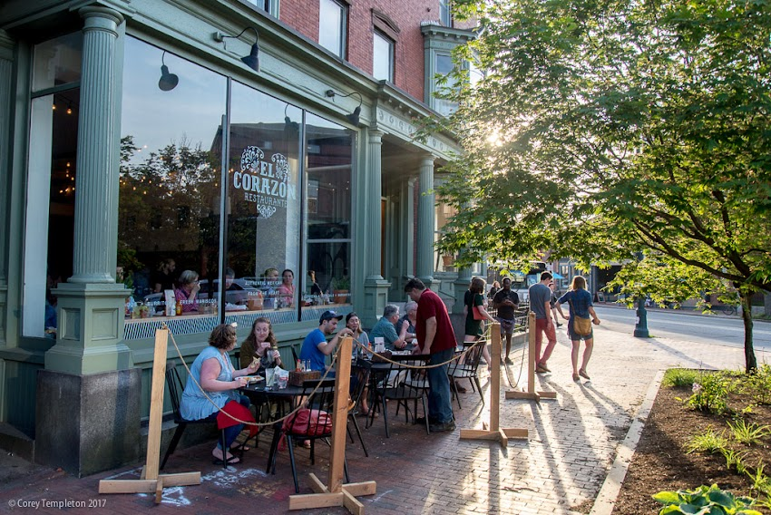 Portland, Maine USA June 2017 photo by Corey Templeton. A welcoming sidewalk in front of the newly opened Restaurante El Corazon restaurant in Longfellow Square.