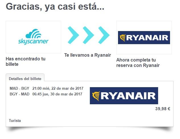 Comprar vuelo de RyanAir por Skyscanner