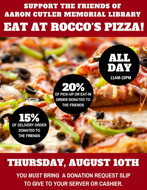 Dine-Out at Rocco's Pizza on August 10, 2017 to Support the Friends of the Library