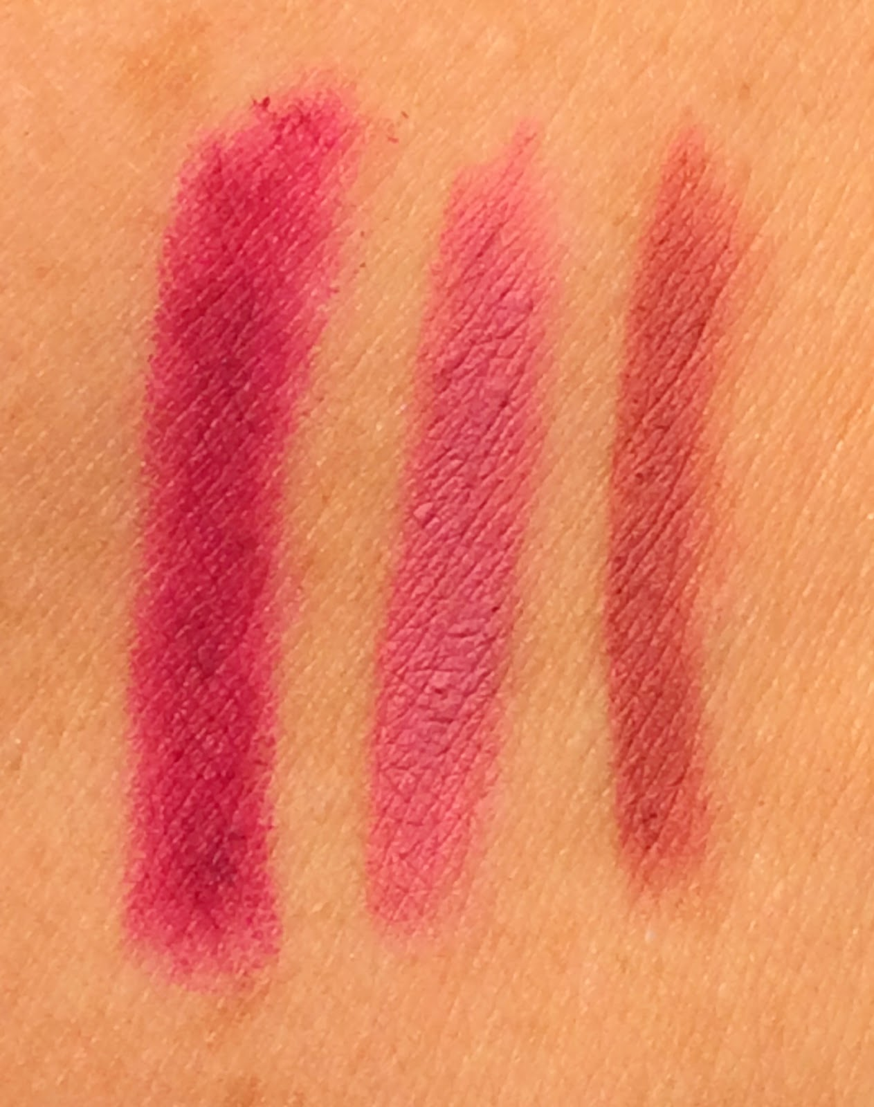 MAC Lip Pencil swatches Rebellious, Edge to Edge, Soar