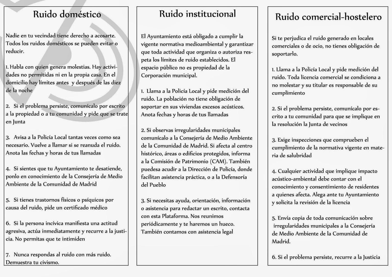 ENTORNO ESCORIAL: EL FOLLETO DE LA PLATAFORMA CONTRA EL RUIDO: COMO ...