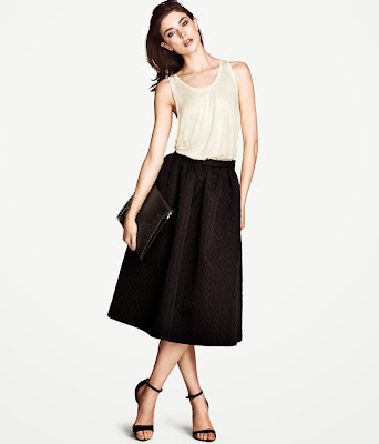 H&M Textured Midi Skirt