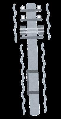 地震で揺れる電柱のイラスト