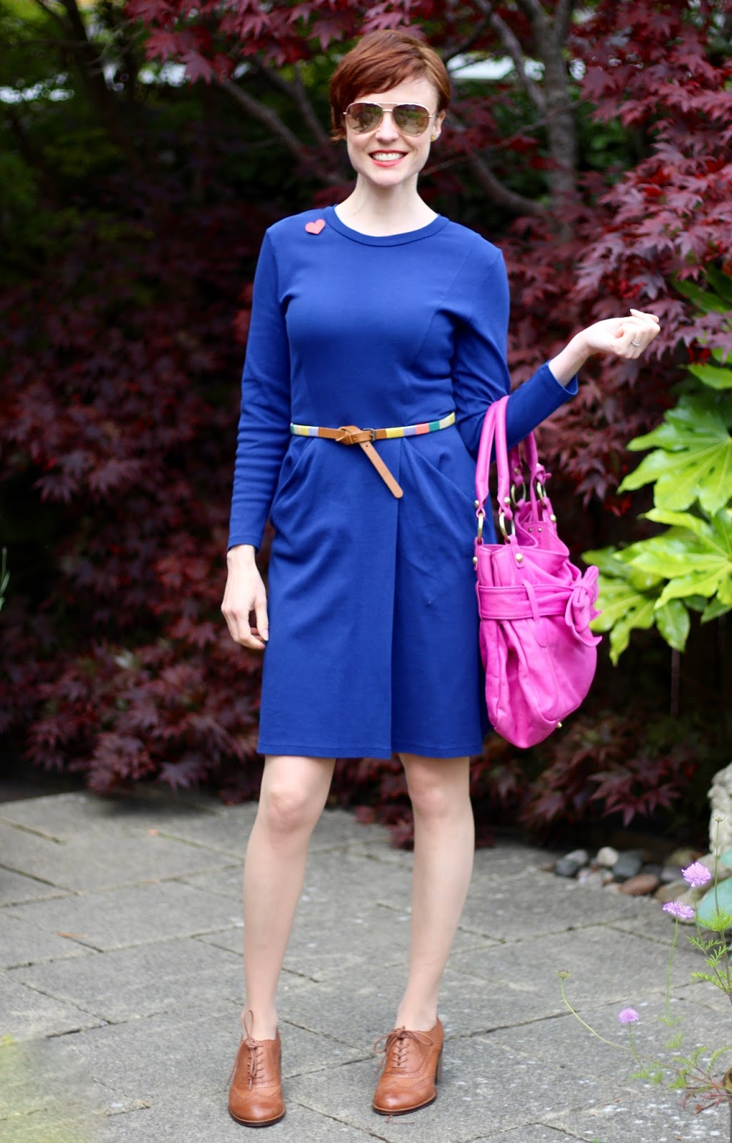 Blue Whistles Dress, Magenta Tote Bag, Tan Brogues | Fake Fabulous