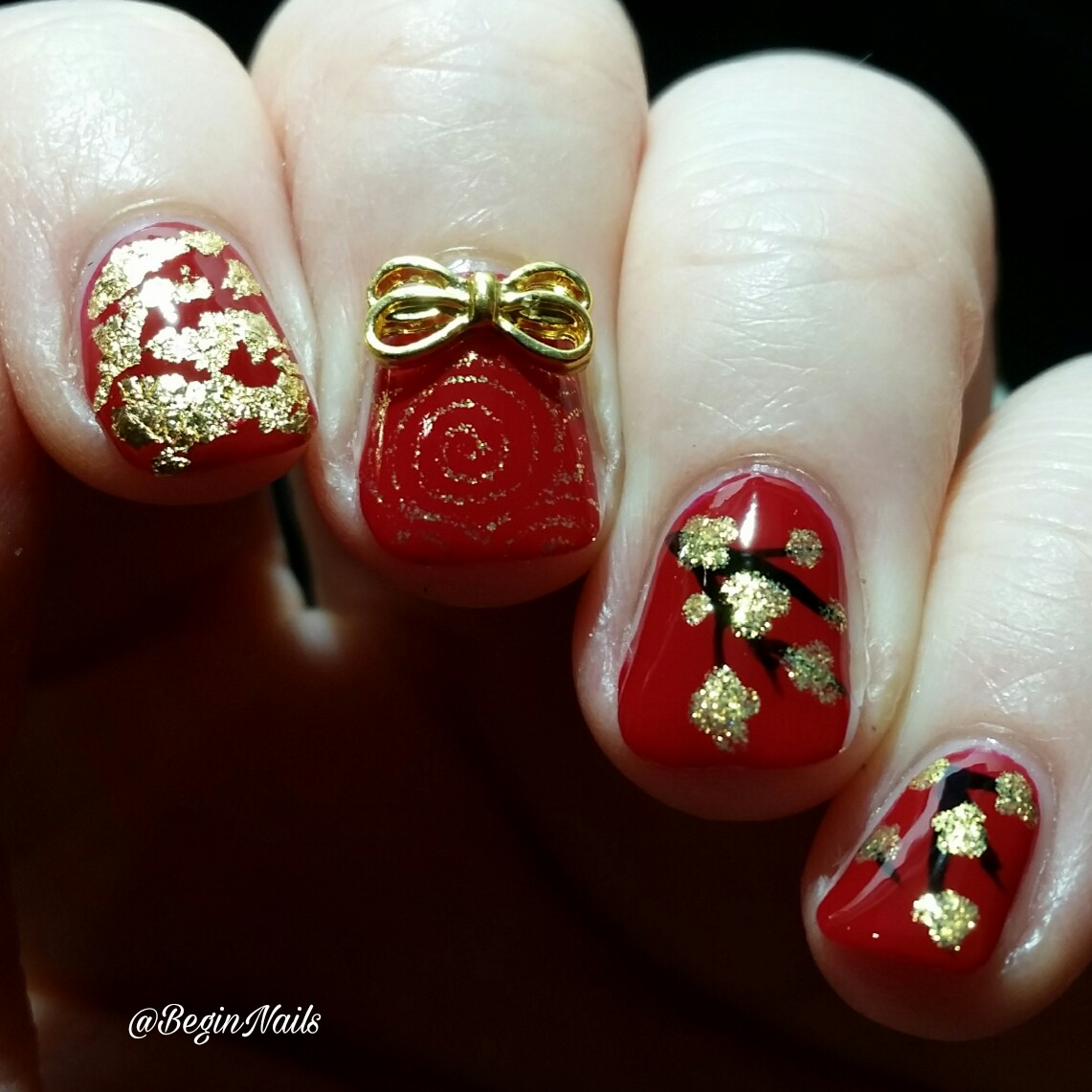 Simple Nail Art For Chinese New Year: Let's Begin Nails: A New Beginning