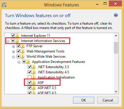 Enable Classic ASP in IIS 7 to Allow Websites to Run Asp Applications in Windows 8.1 form control panel
