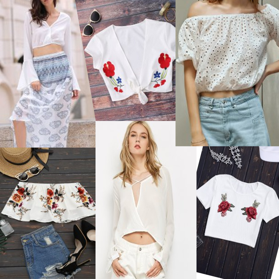 98a93774283 Clockwise from Top Left 1) Bell Sleeve White Crop Top 2) Knot Front Beach  Cover Up Crop Top 3) Off The Shoulder Cut Out Embroidered Top