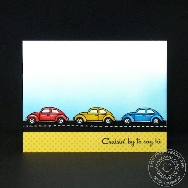 Sunny Studio Stamps: City Streets Cruisin' By To Say Hi Car Card by Mendi Yoshikawa