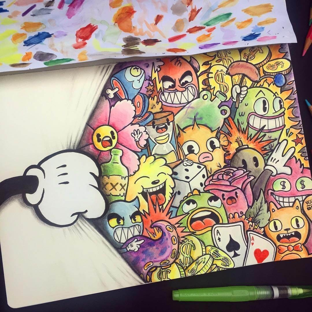 09-Cuphead-inspired-art-Vince-Okerman-aka-Vexx-11-Doodle-Drawings-and-1-Painting-www-designstack-co