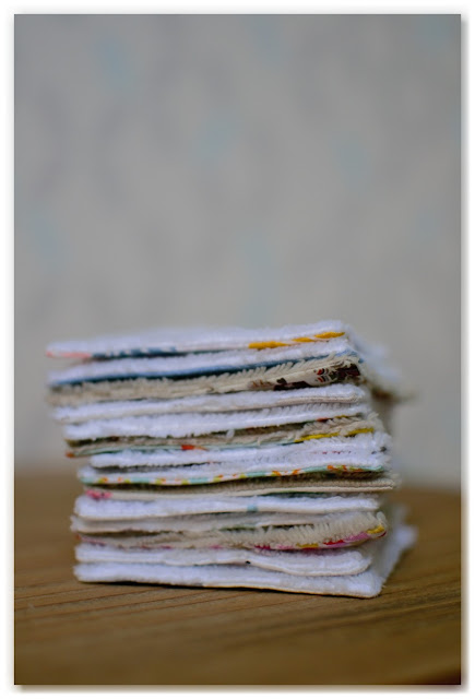 pile de coton lavables réutilisables faits maison