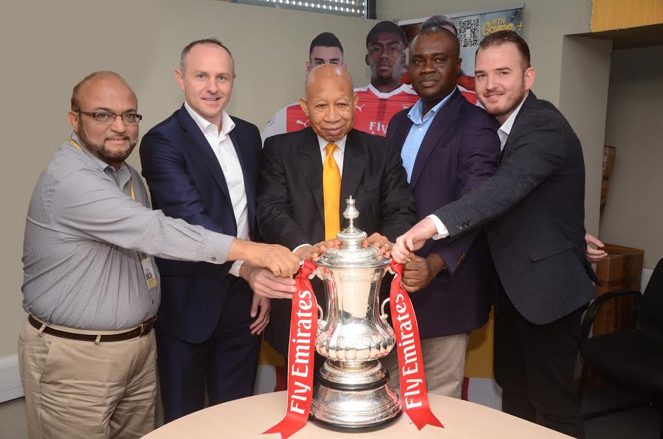 2 Arsenal Lands In Nigeria With FA Cup, Visits MTN Head Office In Lagos (Photos)