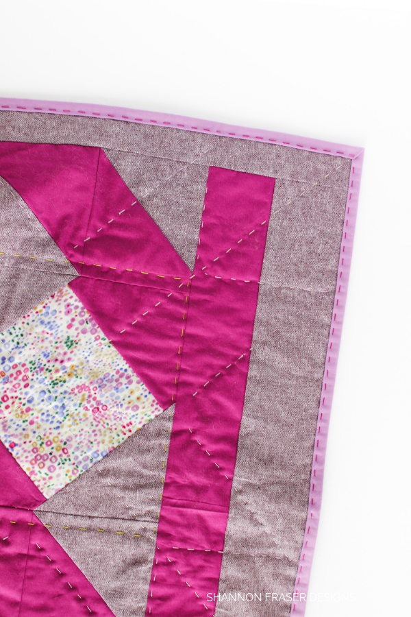 Back side of Indian Star Mini Wall Hanging  | Quilt Big Blog Hop | Shannon Fraser Designs