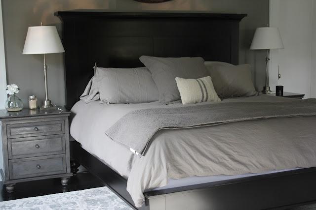 Elegant modern black and grey modern farmhouse bedroom on Hello Lovely Studio