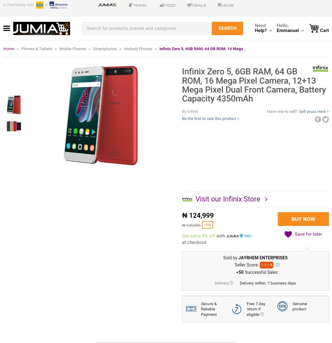 Infinix zero 5 price on jumia