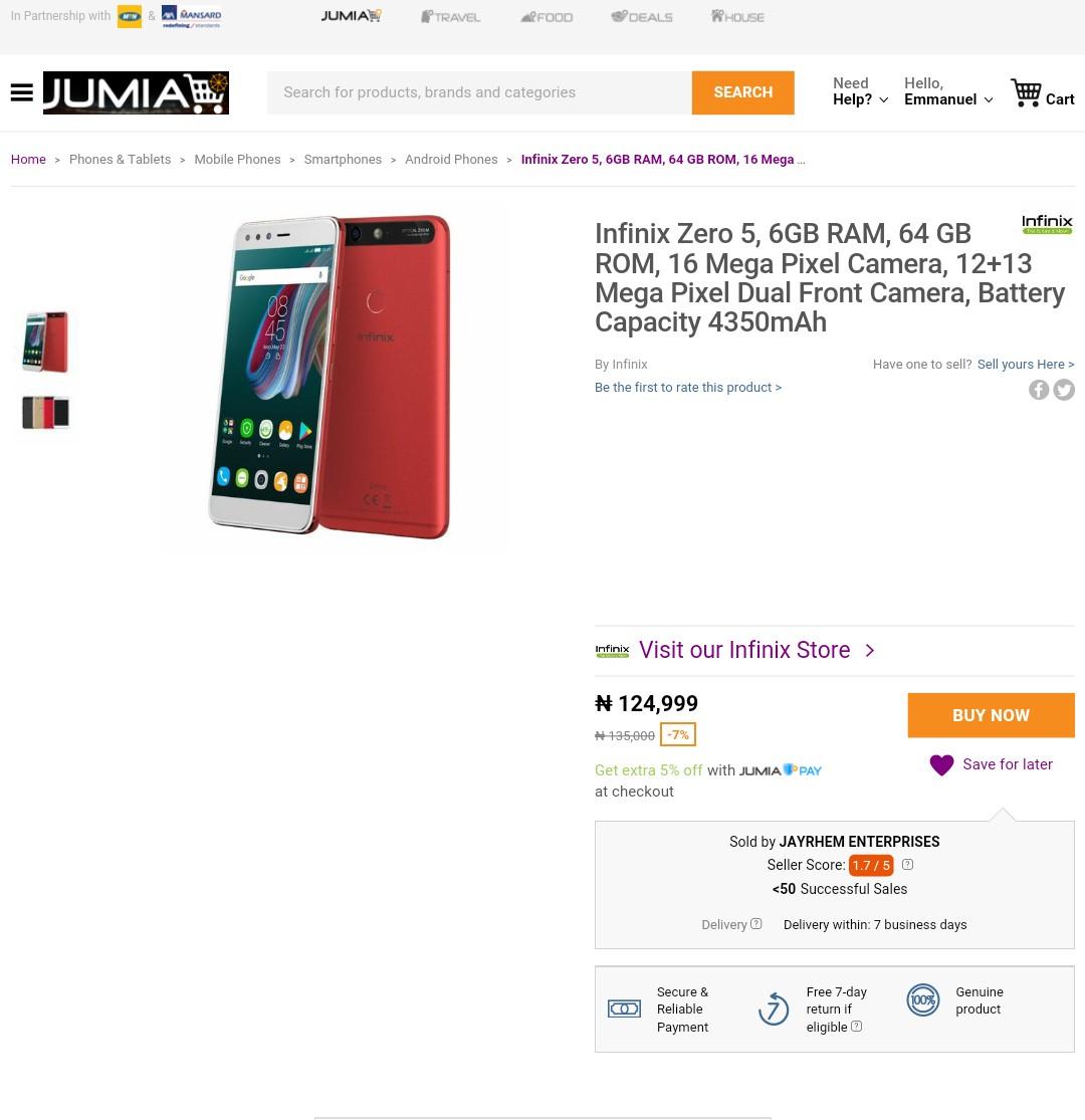 Infinix zero 5 price on jumia