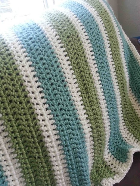 Shared With Striped Crochet Afghan