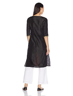 W kurta with orange and black colored  front and black colored back