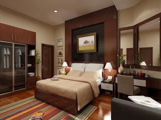 Habitación crema y chocolate