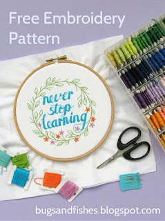 Free embroidery pattern: Never Stop Learning
