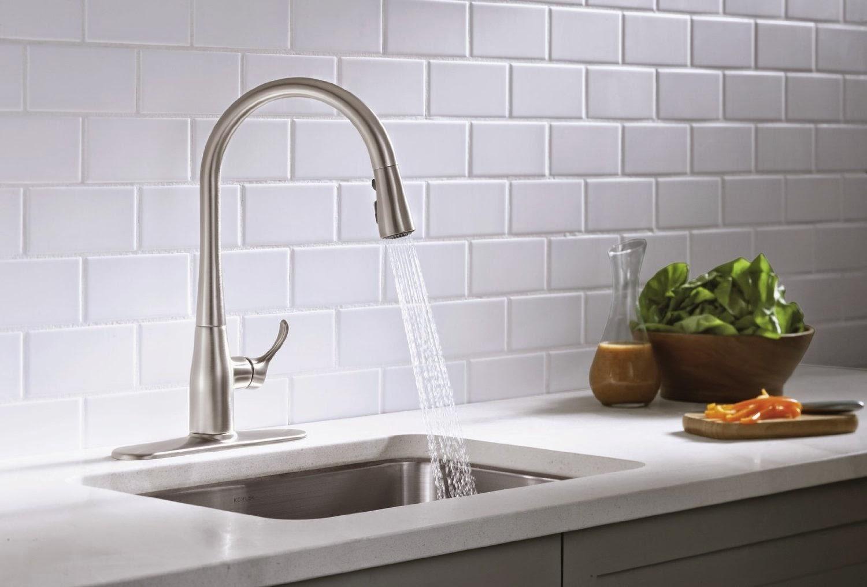 faucets kohler k 596 cp simplice single hole pull down kitchen faucet