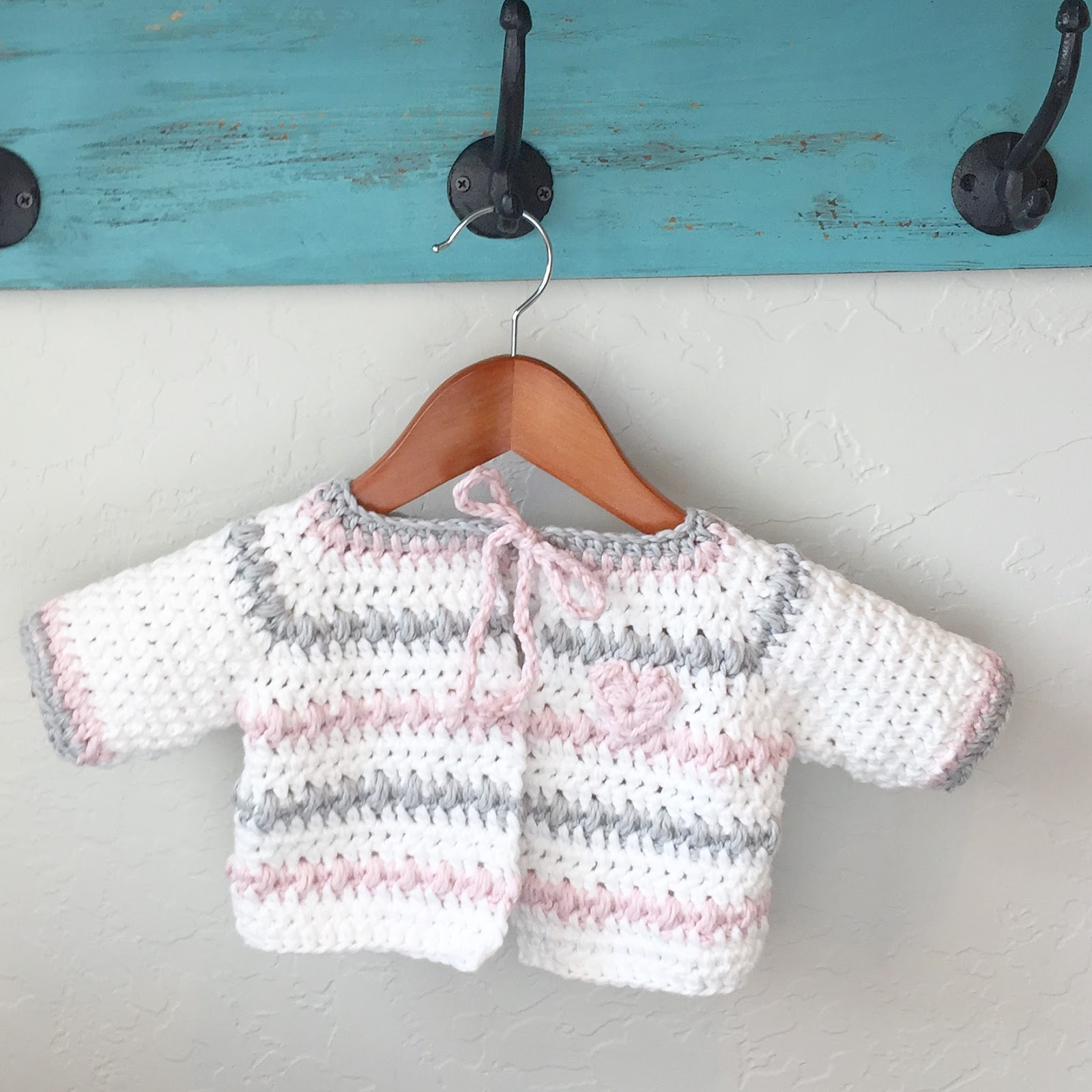 Crochet Baby Sweater in White, Pink and Gray | Daisy Farm Crafts