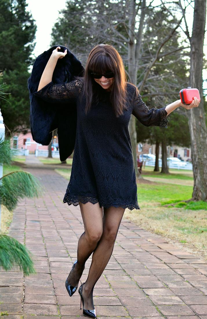 Black lace dress street style