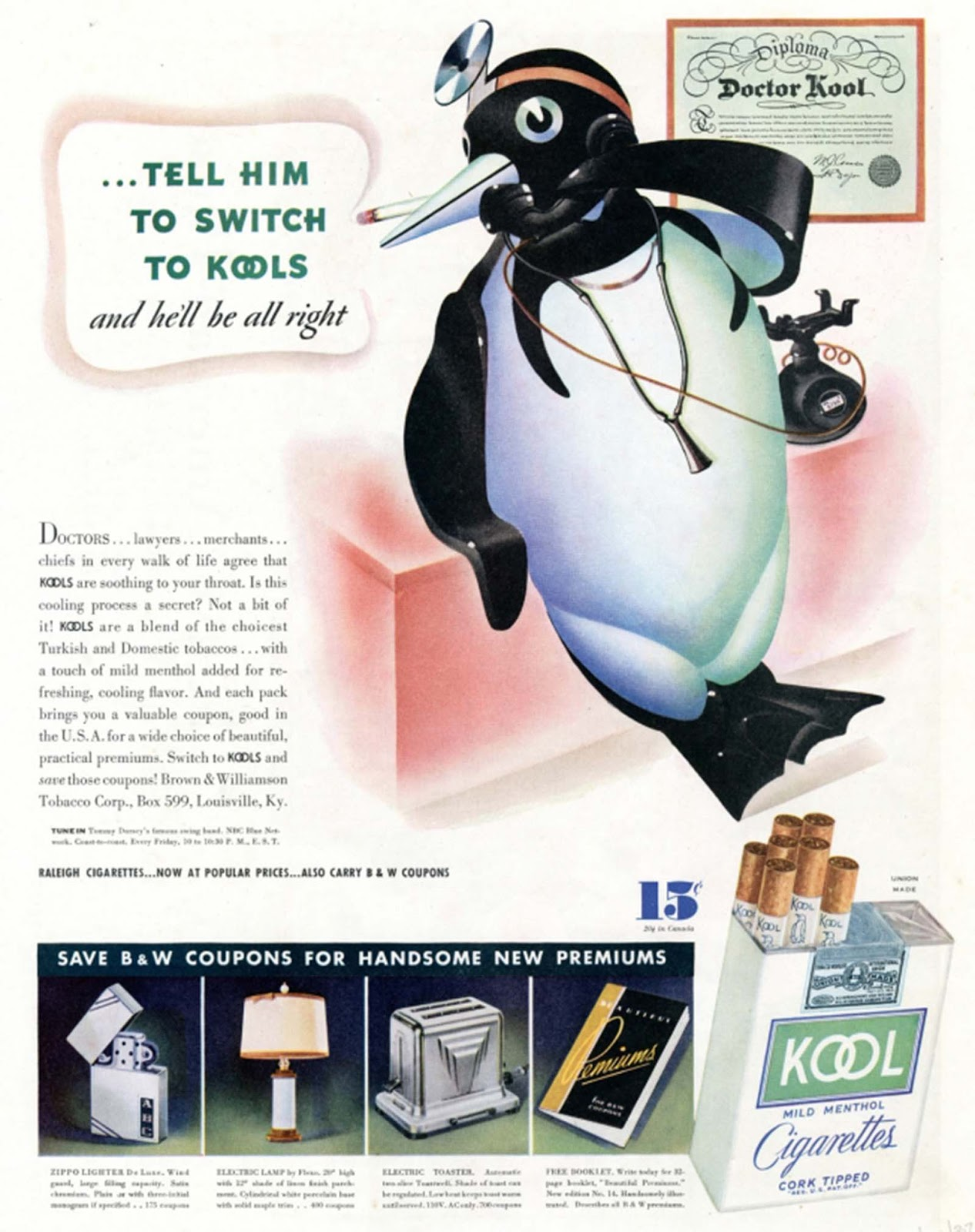 Kool's penguin poses as an otolaryngologist in this 1938 ad. The brand made the case that its cigarettes actually soothed the throat.