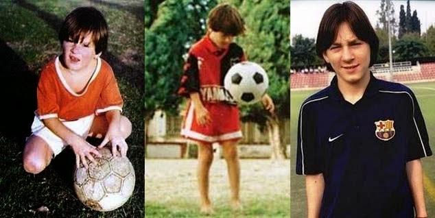 Messi en algunas fotografías de su infancia, siempre con un balón.